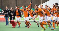 BLOEMENDAAL - Vreugde bij OZ  na de finale van de EHL tussen de mannen van Oranje Zwart en UHC Hamburg . OZ wint na shoot outs. Rashid, Joep de Mol, Thijs Bams.COPYRIGHT KOEN SUYK