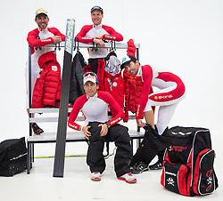 20.10.2012, Messehalle, Innsbruck, AUT, OeSV Einkleidung 2012, im Bild ÖSV-nordische Kombination Mario Stecher, Wilhelm Denifl, Christoph Bieler, Bernhard Gruber // austrians nordic combined athlete Mario Stecher, Wilhelm Denifl, Christoph Bieler, Bernhard Gruber  during the official Presentation of the Austrian Ski Team Fashion at the Messehalle, Innsbruck, Austria on 2012/10/20. EXPA Pictures © 2012, PhotoCredit: EXPA/ Johann Groder