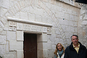 Israel, Jerusalem, Via Dolorosa, Station No. V Simon of Cyrene carries the cross