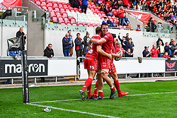 Tom Prydie of Scarlets celebrates his try with team mate Ed Kennedy<br /> <br /> Photographer Craig Thomas/Replay Images<br /> <br /> Guinness PRO14 Round 3 - Scarlets v Benetton Treviso - Saturday 15th September 2018 - Parc Y Scarlets - Llanelli<br /> <br /> World Copyright © Replay Images . All rights reserved. info@replayimages.co.uk - http://replayimages.co.uk