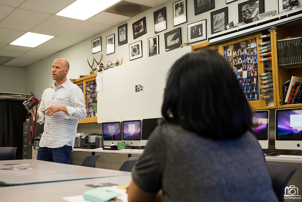Photography teacher Ian Danielson talks with parents during Back To School Night at Milpitas High School in Milpitas, California, on August 30, 2016. (Stan Olszewski/SOSKIphoto)