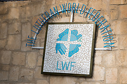 25 February 2020, Jerusalem: The Lutheran World Federation logo decorates the wall by the LWF offices on the Mount of Olives in Jerusalem.