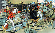 Indian Mutiny, also known as the Sepoy Mutiny or The Great War of Independence : Mutineers attacking magazine at Delhi 11 May 1857.  Lieutenant Willoughby, who died of his wounds, gave the order to the defending garrison to exploded magazine, so denying the rebels supplies of arms and ammunition. Colour-printed lithograph c1900.