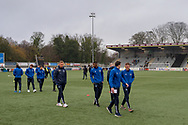 Oldham Athletic players inspect the pitch before the The FA Cup match between Maidstone United and Oldham Athletic at the Gallagher Stadium, Maidstone, United Kingdom on 1 December 2018. Photo by Martin Cole