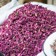 Dried rose petals for sale in Chandni Chowk spice market, old Delhi