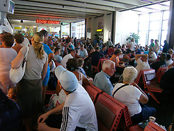 Busy airport Turkey full of British holidaymakers travelling home UK