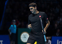 Tennis - 2019 Nitto ATP Finals at The O2 - Day One<br /> <br /> Singles Group Bjorn Borg: Roger Federer (Switzerland) vs. Dominic Thiem (Austria)<br /> <br /> Roger Federer (Switzerland) allows himself a small celebration<br /> <br /> COLORSPORT/DANIEL BEARHAM