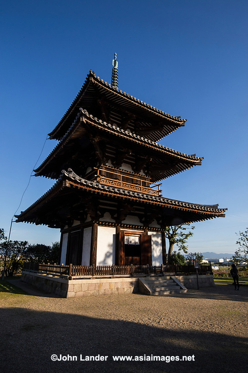 Hokki-ji Temple or temple of the Arising Dharma was once  known as Okamoto-dera.  Founded by Prince Shotoku who dedicated his life to spreading Buddhism came to understand the Lotus Sutra here in a palace that was later turned into a temple during the 7th century. The small three storied pagoda  is the oldest in Japan.  Though most of the other buildings at Hokkiji were destroyed by fire, this pagoda indicates what the rest of the temple would have originally looked like. It has been designated a National Treasure and a UNESCO World Hertiage Site. The pagoda is similar to the one at nearby Horyu-ji built by the same prince, and it is thought that it may have been built by the person who designed Horyu-ji.
