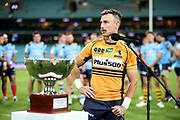 Nic White with the Dan Vickerman Cup. NSW Waratahs v ACT Brumbies. 2021 Super Rugby AU Round 7 Match. Played at Sydney Cricket Ground on Friday 2 April 2021. Photo Clay Cross / photosport.nz