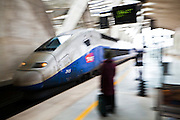 A TGV train pulls into the Saint-Exupéry railway station at the airport in Lyon, France.