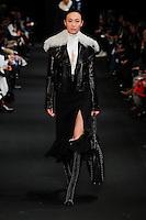 Shu Pei Qin (NEXT) walks the runway wearing Altuzarra Fall 2015 during Mercedes-Benz Fashion Week in New York on February 14, 2015