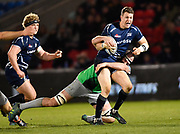 Sale Sharks centre Sam James makes a break during a Gallagher Premiership match won by Sale Sharks 27-17 at the AJ Bell Stadium, Eccles, Greater Manchester, United Kingdom, Friday, April 5, 2019. (Steve Flynn/Image of Sport)