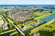 Nederland, Utrecht, Wijk bij Duurstede, 30-09-2015;<br /> Prinses Irenesluizen in Amsterdam-Rijnkanaal.<br /> Lock complex Amsterdam-Rijn-canal.<br /> Luchtfoto (toeslag), aerial photo (additional fee required) foto/photo Siebe Swart