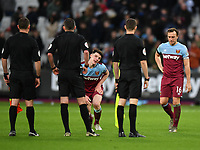 Football - 2019 / 2020 Premier League - West Ham United vs. Brighton & Hove Albion<br /> <br /> West Ham United's Declan Rice and Mark Noble dejected at the final whistle, at The London Stadium.<br /> <br /> COLORSPORT/ASHLEY WESTERN