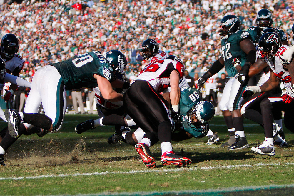 26 Oct 2008: Philadelphia Eagles running back Brian Westbrook #36 is brought down in front of the endzone during the game against the Atlanta Falcons on October 26th, 2008. The Eagles beat the Falcons 27-14 at Lincoln Financial Field in Philadelphia, Pennsylvania. (Photo by Brian Garfinkel)