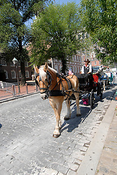 Horse cart in historic area..Philadelphia, Pennsylvania, PA USA.  Photo copyright Lee Foster, 510-549-2202, lee@fostertravel.com, www.fostertravel.com. Photo 288-30715