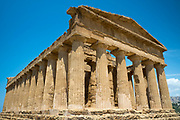 Temple of Concord ( Concordia) low angle view of the columns, in the Valley of the Temples, Agrigento, Sicily, Italy