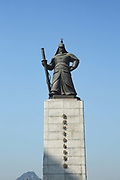 Admiral Yi Sun-Sin statue in Seoul city on 26th February 2018 in South Korea. Admiral Yi Sun-sin was a Korean naval commander famed for his victories against the Japanese navy during the Imjin war in the Joseon Dynasty, who became an exemplar of conduct to both the Koreans and Japanese.