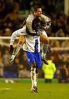 Photo: Scott Heavey.<br />Everton v Chelsea. FA Barclaycard Premiership. 01/11/2003.<br />Carlo Cudicini and Mario Melchiot celebrate the Chelsea win.