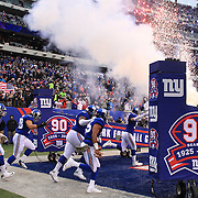 New York Giants players enter the field of play before the start of the New York Giants V San Francisco 49ers, NFL American Football match at MetLife Stadium, East Rutherford, NJ, USA. 16th November 2014. Photo Tim Clayton