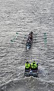 Putney, London, Varsity, 5th April 2019, CUWBC, Blondie, pass through Hammersmith Bridge, Oxford/Cambridge Media week, Championship Course,<br /> [Mandatory Credit: Karon PHILLIPS], Wednesday,  03/04/2019,