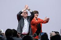 06 DEC 2019, BERLIN/GERMANY:<br /> Norbert Walter-Borjans (R), SPD Parteivorsitzender, und Saskia Esken (L), MdB, SPD Parteivorsitzende, nach ihrer Wahl zu Parteivorsitzenden, SPD Bundesprateitag, CityCube<br /> IMAGE: 20191206-01-072<br /> KEYYWORDS: Party Congress, Parteitag, klatschen, applaudieren, Applaus