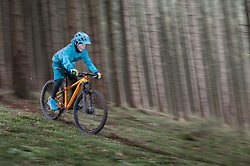 Boy riding mountain bike downhill through forest