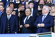 Everton deputy Chairman Jon Woods (l), Everton major shareholder Farhad Moshiri © and Everton Chairman Bill Kenwright  ® take their seats in the Directors Box. Barclays Premier League match, Everton v Norwich City at Goodison Park in Liverpool on Sunday 15th May 2016.<br /> pic by Chris Stading, Andrew Orchard sports photography.