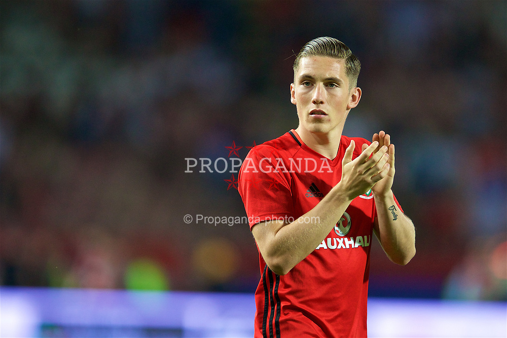 BELGRADE, SERBIA - Sunday, June 11, 2017: Wales' Harry Wilson applauds the travelling supporters after the 1-1 draw with Serbia during the 2018 FIFA World Cup Qualifying Group D match between Wales and Serbia at the Red Star Stadium. (Pic by David Rawcliffe/Propaganda)
