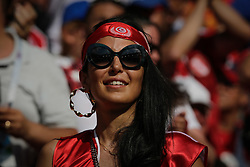 June 23, 2018 - Moscou, VAZIO, Russia - Soccer fans wearing their team color during Belgium-Tunisia match valid for the second round of group G of the 2018 World Cup, held at Spartak Stadium. Belgium wins over Tunisia with the score of 5-2. (Credit Image: © Thiago Bernardes/Pacific Press via ZUMA Wire)