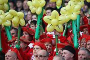 15.02.2015. Edinburgh. RBS 6 Nations 2015 Scotland v Wales.  Welsh fans,  At Murrayfield Stadium, Edinburgh.