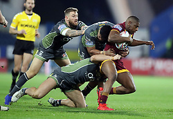 Huddersfield Giants' Jermaine McGillvary is tackled during the Betfred Super League match at the John Smith's Stadium, Huddersfield.