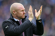 Burnley Manager Sean Dyche applauds the fans. Premier League match, Burnley v Tottenham Hotspur at Turf Moor in Burnley , Lancs on Saturday 1st April 2017.<br /> pic by Chris Stading, Andrew Orchard sports photography.