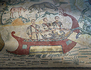 Fishermen Roman mosaic, room 24, at the Villa Romana del Casale, Sicily ,  circa the first quarter of the 4th century AD. Sicily, Italy. A UNESCO World Heritage Site. .<br /> <br /> If you prefer to buy from our ALAMY PHOTO LIBRARY  Collection visit : https://www.alamy.com/portfolio/paul-williams-funkystock/villaromanadelcasale.html<br /> Visit our ROMAN MOSAIC PHOTO COLLECTIONS for more photos to buy as buy as wall art prints https://funkystock.photoshelter.com/gallery/Roman-Mosaics-Roman-Mosaic-Pictures-Photos-and-Images-Fotos/G00008dLtP71H_yc/C0000q_tZnliJD08