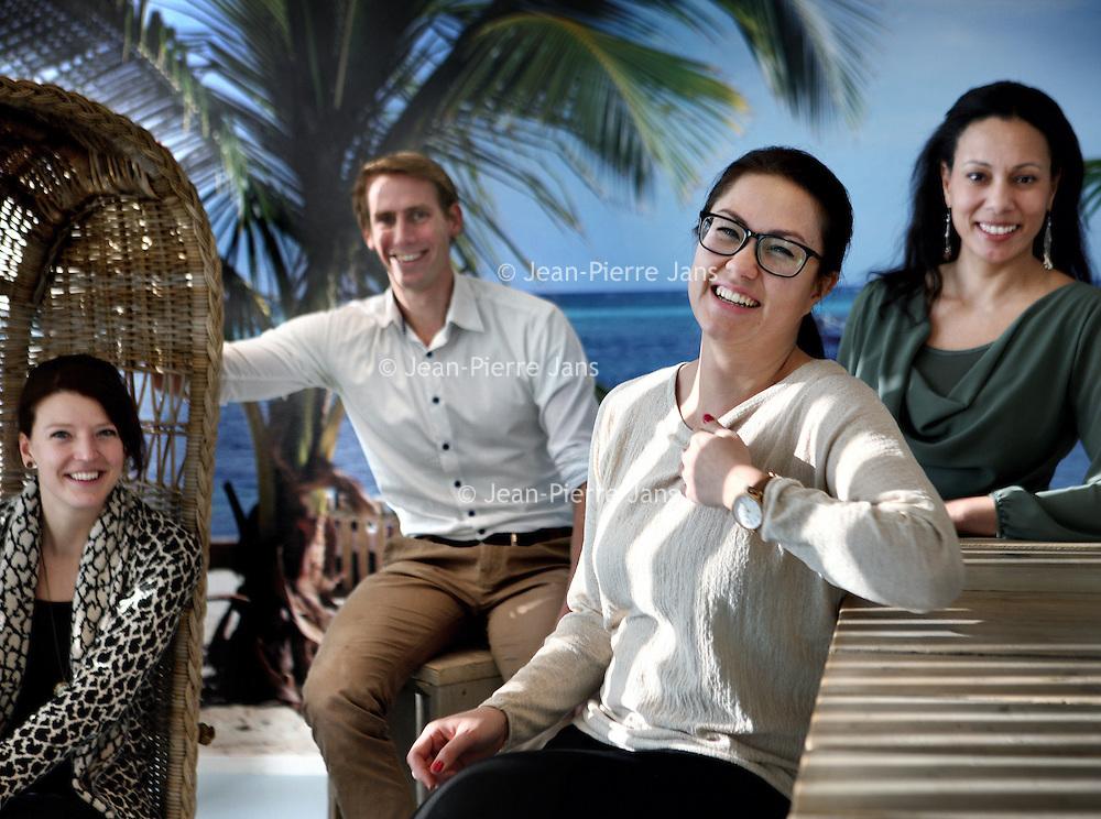Nederland, Amsterdam , 6 februari 2015.<br /> Diversiteitsnetwerken binnen PWC.<br /> v.l.n.r. Jeanette Bisschop, Bart Drechsel, Jessica Molina en Kam Mai Tan<br /> Foto:Jean-Pierre Jans