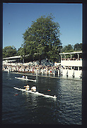 Henley on Thames. United Kingdom. Double Sculls Challenge Cup<br /> 1st AC Rudkin/APS Kittermaster, Tideway & Barclays. 2ndMB Alloway/CF Williams, The Tideway Scullers' 1990 Henley Royal Regatta, Henley Reach, River Thames. 06/07.1990<br /> <br /> [Mandatory Credit; Peter SPURRIER/Intersport Images] 1990 Henley Royal Regatta. Henley. UK