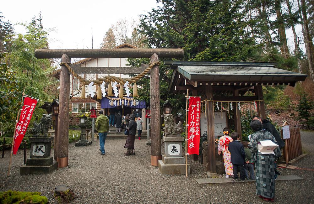 2014 January 01 - People gather at Tsubaki Grand Shrine, Granite Falls, WA. New Years Hatsumode. By Richard Walker