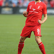 Steven Gerrard, Liverpool, warming up with the Liverpool team before the Manchester City Vs Liverpool FC Guinness International Champions Cup match at Yankee Stadium, The Bronx, New York, USA. 30th July 2014. Photo Tim Clayton