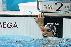 Nick Thoman of the USA after winning silver during the men's 100m Backstroke final  held at the aquatics centre at Olympic Park  in London as part of the London 2012 Olympics on the 30th July 2012.Photo by Ron Gaunt/SPORTZPICS