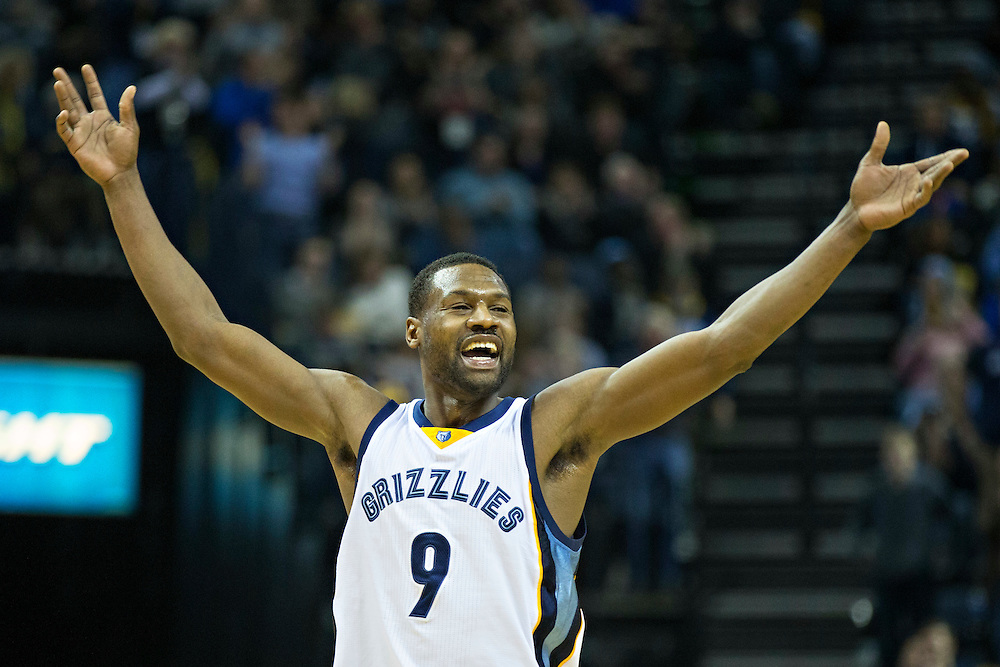 MEMPHIS, TN - JANUARY 10:  Tony Allen #9 of the Memphis Grizzlies celebrates after scoring during a game against the Boston Celtics at the FedExForum on January 10, 2016 in Memphis, Tennessee.  The Grizzlies defeated the Celtics 101-98.  NOTE TO USER: User expressly acknowledges and agrees that, by downloading and or using this photograph, User is consenting to the terms and conditions of the Getty Images License Agreement.  (Photo by Wesley Hitt/Getty Images) *** Local Caption *** Tony Allen