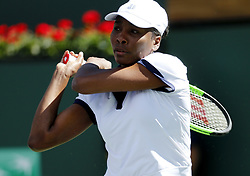 March 7, 2019 - Los Angeles, California, U.S - Venus Williams of USA, returns the ball to Andrea Petkovic of Germany, during the women singles first round match of the BNP Paribas Open tennis tournament on Thursday, March 7, 2019 in Indian Wells, California. Williams won 2-1. (Credit Image: © Ringo Chiu/ZUMA Wire)