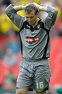 Burton Albion's goalkeeper Dean Lyness is dejected after the final whistle . Skybet football league two play off final match , Burton Albion v Fleetwood Town at Wembley Stadium in  London on Monday 26th May 2014.<br /> pic by John Patrick Fletcher, Andrew Orchard sports photography.