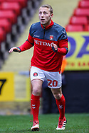Charlton Athletic midfielder Chris Solly (20) warms up prior to the EFL Sky Bet League 1 match between Charlton Athletic and Bristol Rovers at The Valley, London, England on 24 November 2018.