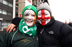 Ireland and England fans show their support prior to the NatWest 6 Nations match at Twickenham Stadium, London. PRESS ASSOCIATION Photo. Picture date: Saturday March 17, 2018. See PA story RUGBYU England. Photo credit should read: Gareth Fuller/PA Wire. RESTRICTIONS: Editorial use only, No commercial use without prior permission.
