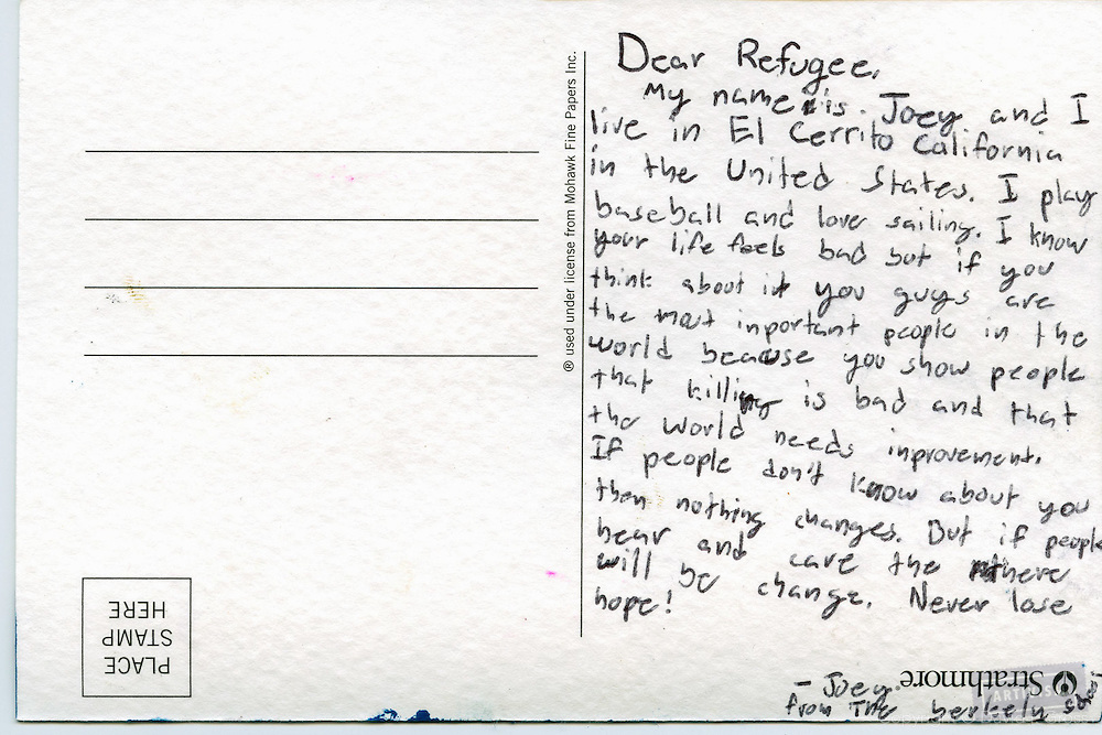 Postcard drawn by an  American student for a syrian refugee child.