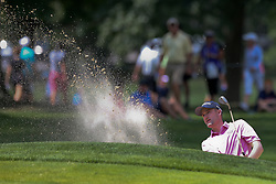 August 3, 2018 - Akron, Ohio, United States - Russell Knox hits out of a greenside bunker during the second round of the WGC-Bridgestone Invitational at Firestone Country Club. (Credit Image: © Debby Wong via ZUMA Wire)