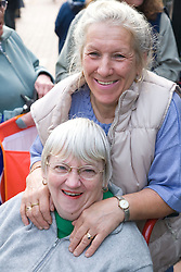 Wheelchair user with Multiple Sclerosis; and her carer; on a day trip to Skegness organised by Nottingham Disabled Friendship Club,