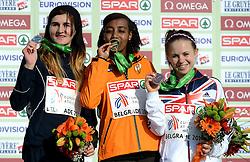 08-12-2013 ATHLETICS: SPAR EC CROSS COUNTRY: BELGRADE<br /> Sifan Hassan heeft vandaag haar favorietenrol waargemaakt. De atlete, die pas enkele weken geleden haar Nederlandse paspoort kreeg, won vandaag het EK Cross onder 23 jaar. Amela Terzic zilver en Charlotte Purdue brons<br /> ©2013-WWW.FOTOHOOGENDOORN.NL