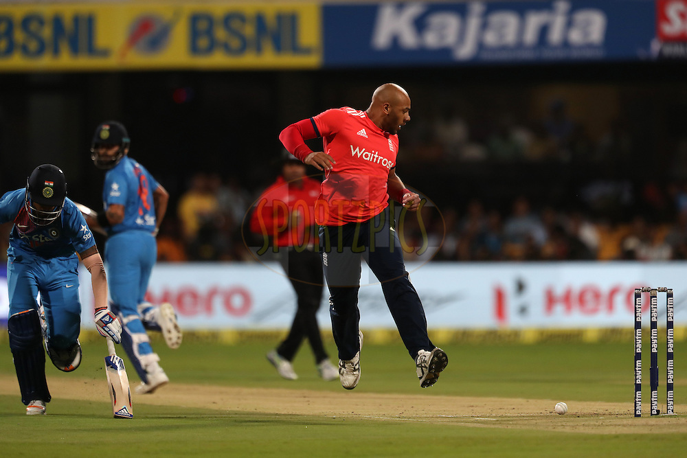 Tymal Mills of England attempts to run out KL Rahul of India  during the 3rd T20I between India and England held at the M. Chinnaswamy Stadium in Bangalore on the 1st Feb 2017. <br /> <br /> Photo by: Ron Gaunt / BCCI/ SPORTZPICS