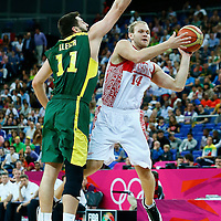 08 August 2012: Russia Anton Ponkrashov passes the ball during 83-74 Team Russia victory over Team Lithuania, during the men's basketball quarter-finals, at the 02 Arena, in London, Great Britain.